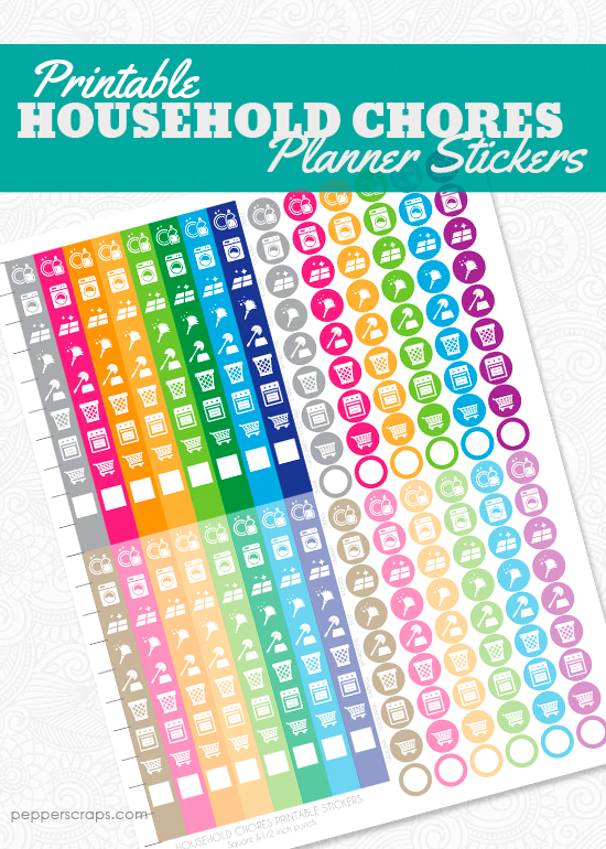 household chore planner stickers printable  u2013 pepper scraps printables