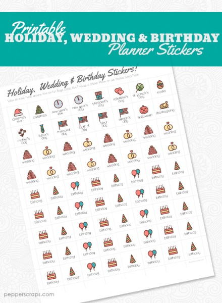 PrintableHolidayWedding&BirthdayPlannerStickers