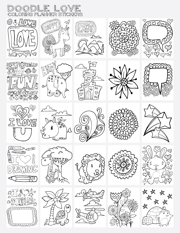 Doodle Love Coloring Planner Stickers – Pepper Scraps Printables