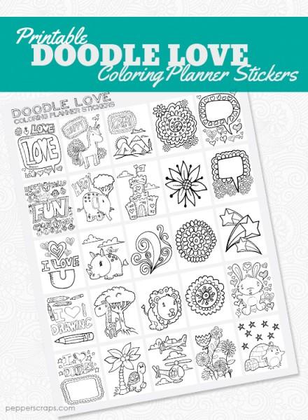 DoodleLoveColoringPlannerStickers