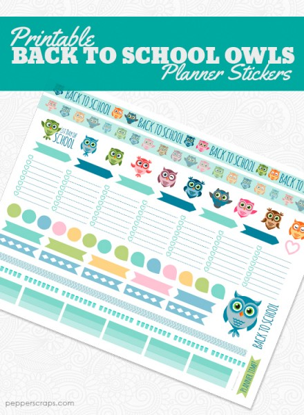 Printable Back to School Owls Planner Stickers