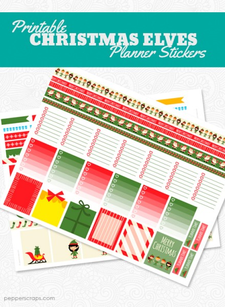 Printable Christmas Elves Planner Stickers