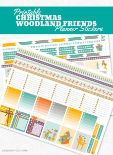 Printable Christmas Woodland Friends Planner Stickers