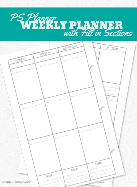 Printable Weekly Planner-with Fill in Sections by Pepper Scraps