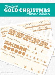 PrintableGoldChristmasPlannerStickers