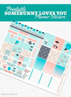Printable Somebunny Loves You Planner Stickers